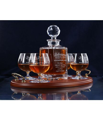 Tray Set, Crystal Square Decanter And Four Brandy Goblets In Gift Boxes