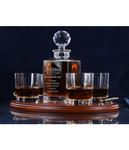 A fully engraved 5 piece crystal whisky serving tray set. The set is fully gift boxed and we include set up and design as part of our service. The tray can include an engraved brass plate on the wooden tray if required.