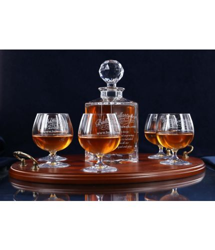 Tray Set, Crystal Square Decanter And Six Brandy Goblets In Gift Boxes