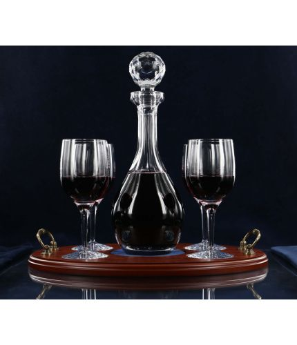 Red Wine Serving Tray Set, 5 piece, plain style. We include design, setup, pre-approval and engraving on the front of each item and an engraved brass plate on the tray.