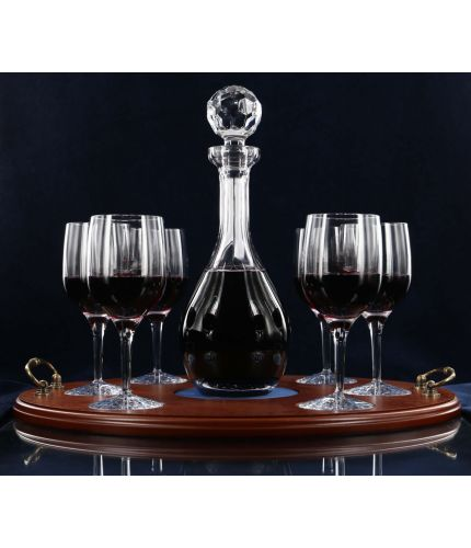 A 7 Piece, Plain Style, Red Wine Serving Tray Set. Sold fully engraved and with its own wooden serving tray.