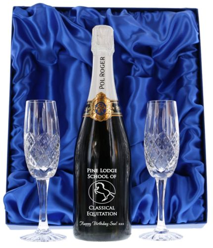 Fully personalised boxed bottle of Pol Roger Champagne and two fully cut crystal champagne flutes. We offer magnificent Pol Roger champagne gifts for your friends, family and colleagues.