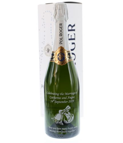 Pol Roger Champagne engraved back and front. We offer magnificent champagne gifts for your friends, family and colleagues. This beautiful gift boxed champagne bottle is a great gift for a wedding, an anniversay or a birthday. Engraving is Included