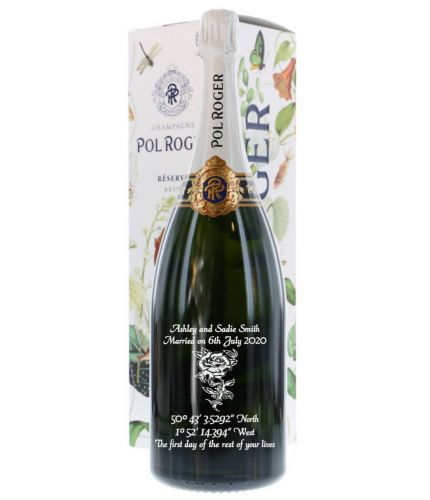A fully engraved MAGNUM bottle of Pol Roger Reserve Brut Champagne which we've engraved with a message of your choice. The text and design if the message is entirely up to you. We also have a full library of images if required