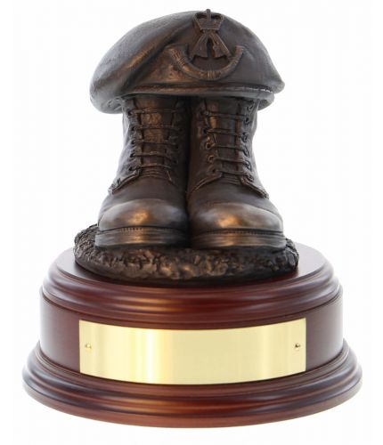 The Rifles Boots and Beret, cast in cold resin bronze and we offer this Boots and Beret on a choice of presentation bases, the BB2, BB3 and BB4 have room to add an engraved plate.