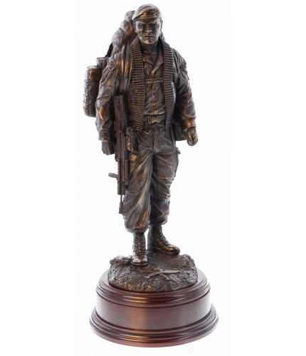 """This is a modern Gurkha soldier, scaled at 12"""" tall. This Gurkha version is wearing a Beret with an RGR cap badge and has a Royal Gurkha Rifles badge at his feet. We include an engraved brass plate if required."""