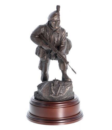 "Royal Irish Ranger soldier in an alert pose wearing a caubeen. Handmade in a bronze finish, he is sculpted to an 11"" scale."