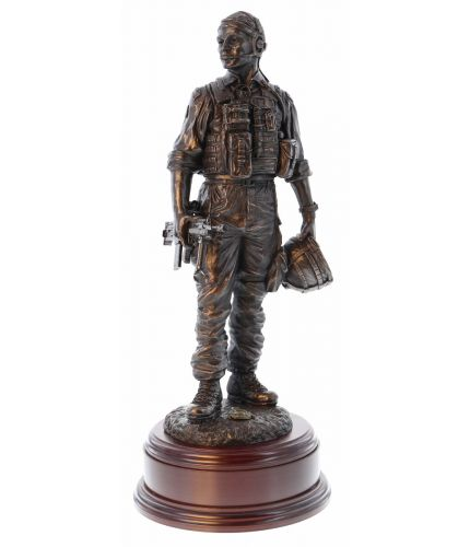 "We've sculpted this piece in our 12"" scale at the direct request of 42 Commando Royal Marines. This is a cold cast bronze resin sculpture of 42 Commando's Dewarstone Memorial Garden Centrepiece. The wooden base you see in that picture and a brass engraved"