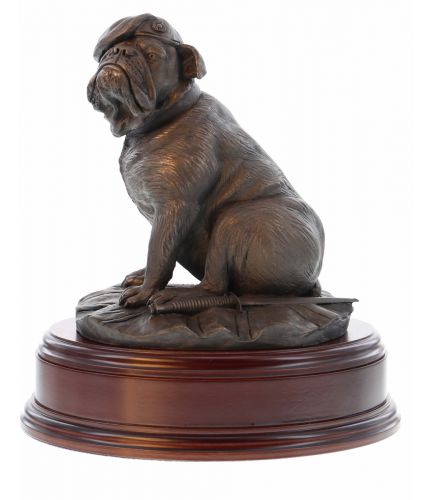 A Cold Cast Bronze Royal Marine Bulldog. He's wearing a Royal Marine Beret and hasa traditional Sykes Dagger at his feet.  We include a fully engraved brass plate with this sculpture.