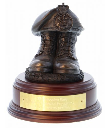 Royal Navy Petty Officer Boots and Beret, cast in cold resin bronze and mounted on a variety of wooden presentation bases. Some with included optional engraved brass plate.