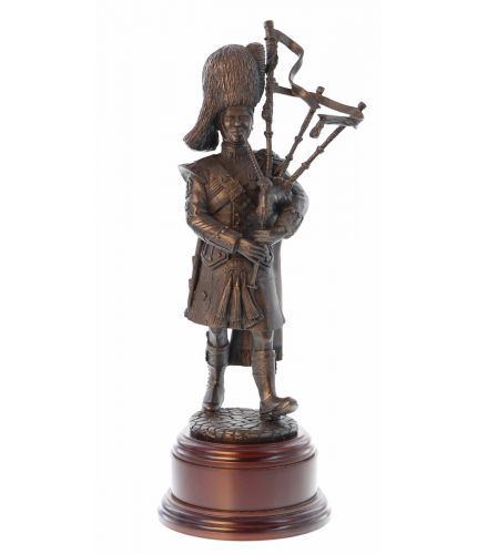 Royal Scots Dragoon Guards Pipe Major. Cold Cast Bronze in an 8 Inch Scale. We provide this wooden base and and engraved brass plate as part of the service