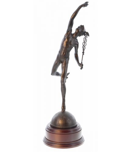 A Royal Signals presentation sculpture, of Mercury the winged messenger or simply 'Jimmy'. The wooden base and an engraved plate are included.