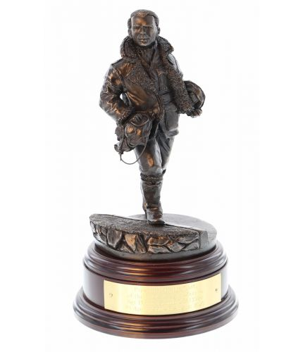 "Commonwealth and Allied Battle of Britian Scramble Pilot of World War Two sculpted in an 8"" scale, Cold Cast Bronze Finish. We include the wooden base and an engraved brass plate if required"
