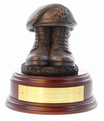 Princess of Wales's Royal Regiment (PWRR) Boots and Beret, cast in cold resin bronze and mounted on a wooden base with optional engraved brass plate.