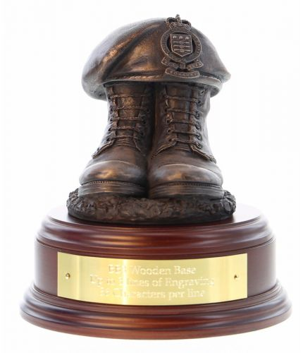 Royal Army Ordnance Corps Boots and Beret, cast in cold resin bronze and we offer this Boots and Beret on a choice of presentation bases, the BB2, BB3 and BB4 have room to add an engraved plate.