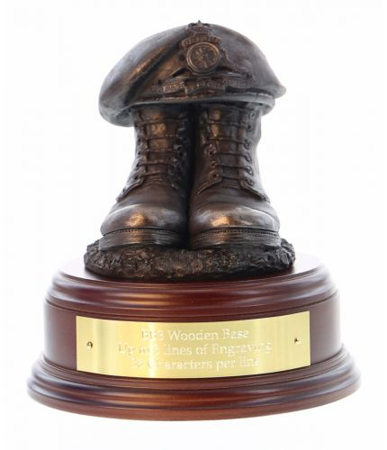Royal Artillery Boots and Beret, cast in cold resin bronze and mounted on a choice of wooden base with included optional engraved brass plate.