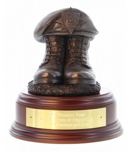 Queen's Royal Hussars (QRH) Boots and Beret, cast in cold resin bronze and mounted on a wooden base with an optional engraved brass plate.