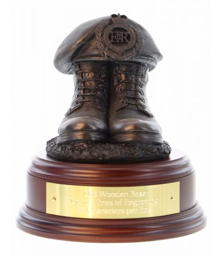 Royal Engineers, RE,  Boots and Beret, cast in cold resin bronze and we offer this Boots and Beret on a choice of presentation bases, the BB2, BB3 and BB4 have room to add an engraved plate.