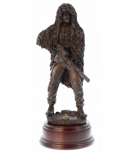 "12"" scale cold cast bronze resin sculpture of a modern Royal Marine Sniper in Ghillie Suit with the L115A3 Rifle. Wooden Base included, we offer a free engraved brass plate too."