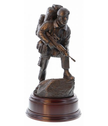 A Sculpture of a Royal Marines Commando in cold cast Bronze. This is the Commando Alert, posed for action on operations worldwide. The Engraved brass plate is included.