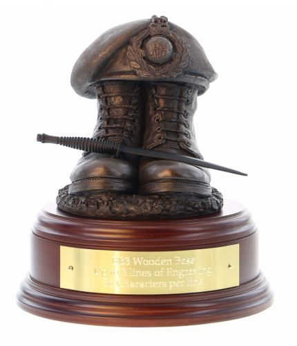 Royal Marines Commando Boots and Beret, cast in cold resin bronze and we offer this Boots and Beret on a choice of presentation bases, the BB2, BB3 and BB4 have room to add an engraved plate.