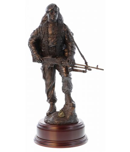 Cold Cast Bronze Royal Marine Commando Sculpture depicting a GPMG Gunner within a RM Fighting Platoon. The wooden base and a brass engraved plate is supplied free of charge