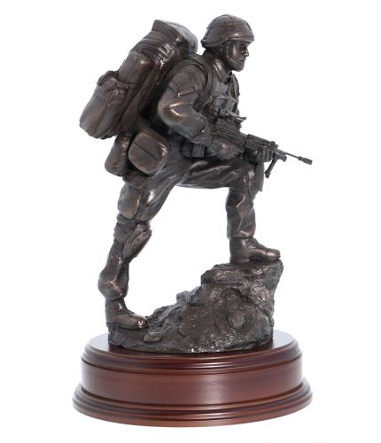 Royal Marines Commando Platoon Fire Team Point Man. Bronze presentation and commemorative farewell gift.