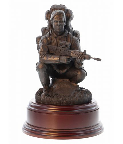 Royal Marines Commando Sculpture depicting a crouching Marine in cold cast bronze. A Great top Table mess presentation, the engraved plate is provided free of charge