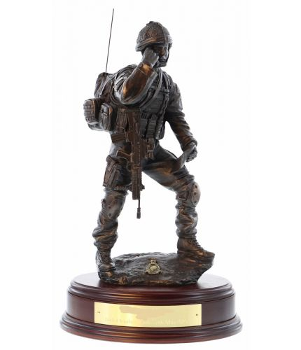 Royal Marines Signals Platoon Contact Signaller, bronze presentation gift for the departing Marine. The personalised engraved plate on the base is included.