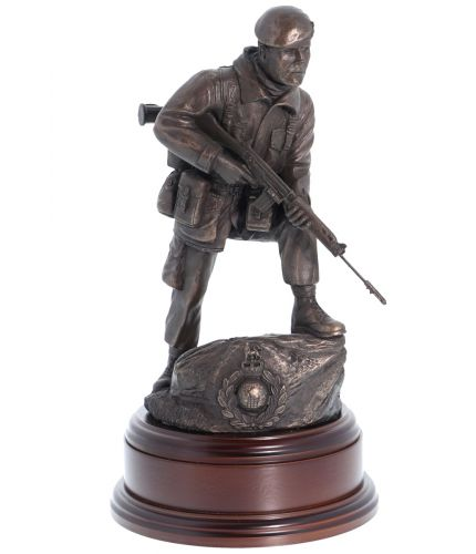 Royal Marines Commando, SLR Rifle Alert, Bronze. Handmade in the UK and are used by units including 30, 40, 42 and 45 Commando as retirement gifts and presentation gizzits.