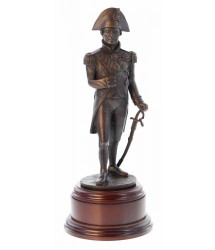 "Vice Admiral Nelson at the Battle of Trafalgar. 8"" Scale cold cast bronze Royal Navy presentation award. We include a free engraved plate  with this sculpture"