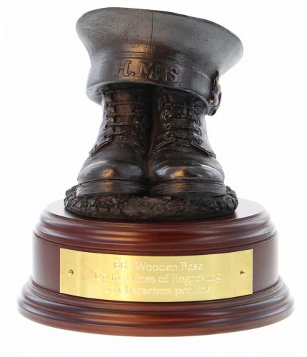 Royal Navy Warrant Officer Boots and Beret, cast in cold resin bronze and mounted on a variety of wooden presentation bases. Some with included optional engraved brass plate.