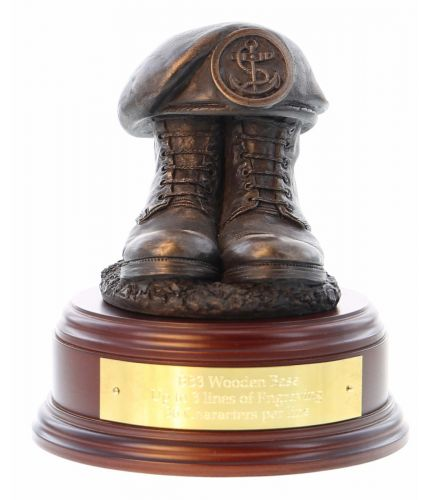 Royal Navy Rating Boots and Beret, cast in cold resin bronze and mounted on a variety of wooden presentation bases. Some with included optional engraved brass plate.