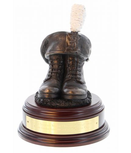 2nd Battalion, Royal Regiment of Scotland Boots and TOS, cast in cold resin bronze and mounted on a square presentation base with included optional engraved brass plate. There's a choice of wooden bases.