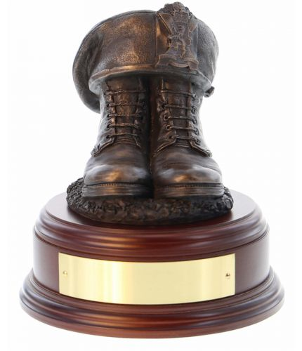 2nd Battalion, Royal Regiment of Scotland Boots and TOS, cast in cold resin bronze and mounted on a square presentation base with included optional engraved brass plate.