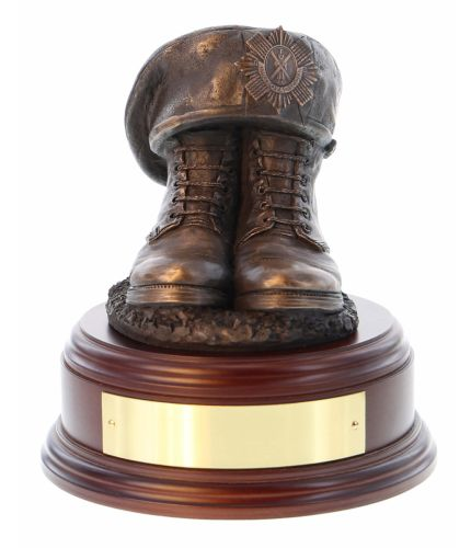 Kings Own Scottish Borderers or KOSB Boots and TOS, cast in cold resin bronze and mounted on a variety of wooden presentation bases. Some with included optional engraved brass plate.