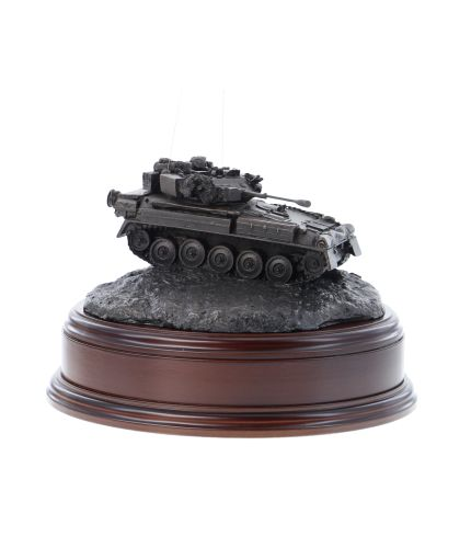 British Army Scimitar Recce Vehicle in the cold cast bronze finish. We mount it on this base as standard and you can have the badge of your choice mounted on the base as seen.
