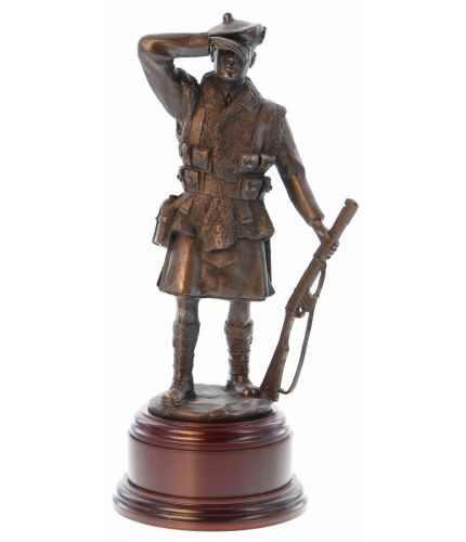 "This is an 8"" tall scaled down replica of the Dornoch War Memorial which depicts a World War 1 kilted soldier of the 51st Highland Division. We offer an engraved brass plate as standard with this scupture."
