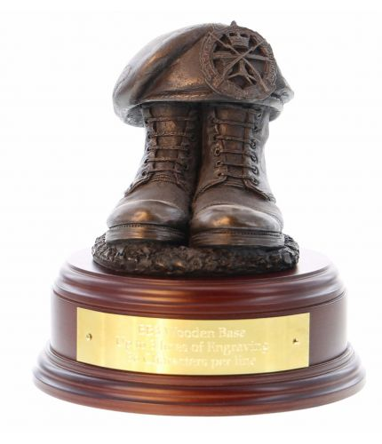 Royal Military Police Boots and Beret, cast in cold resin bronze and mounted on a square presentation base with included optional engraved brass plate.