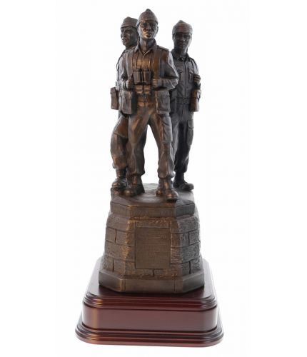 "Our statue is an exact 8"" scale replica of the Commando Memorial at Spean Bridge in the Great Glen of Scotland, except in this version, the base section is in a bronze finish."