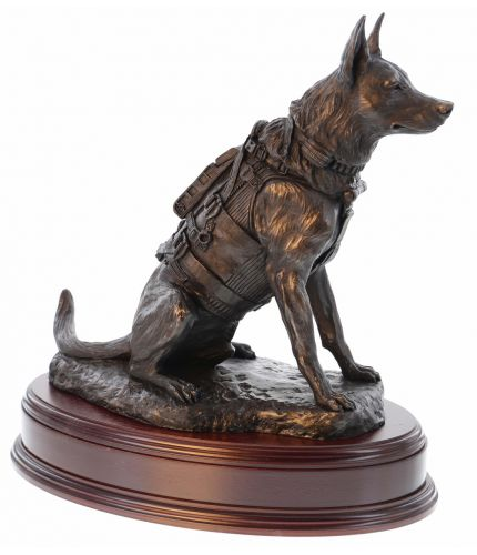 Belgian Malinois Dogs support the Special Forces in Combat. Our sculpture is cast cold cast bronze and is provided on this base as standard, we also include an engraved brass plate.