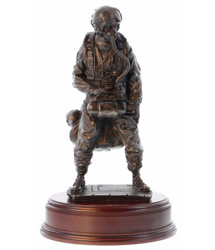 "Special Forces Trooper ready for a HAHO jump onto dry land. We make the finest Military Presentation, Retirement and Farewell gifts on the market. 12"" scale cold cast bronze resin sculpture. An Engraved Brass plate is encluded."