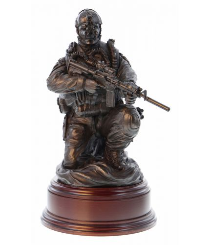"12"" scale cold cast bronze resin sculpture of a Special Forces Combat Swimmer crouching on the beach. We include the wooden base and an engraved brass plate with this figurine."