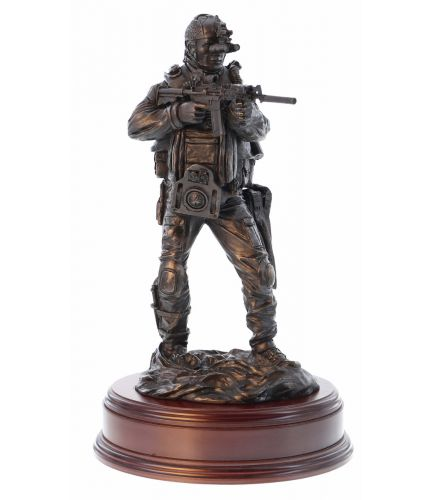 "12"" scale cold cast bronze resin sculpture of a Special Forces Combat Swimmer standing on the beach. We include the wooden base and an engraved brass plate with this figurine."