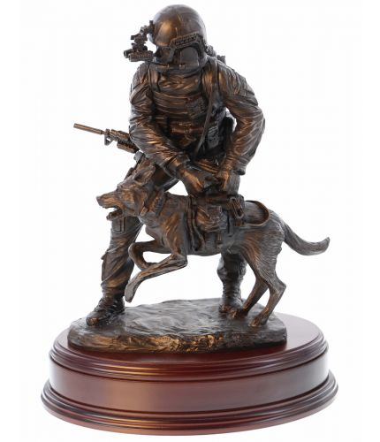 "Special Forces Trooper with an attack dog deployed on Operations. We make our sculptures as presentation and leaving gifts for the Military Special Forces. Sculpted at a 12"" scale and made in bronze cold cast resin, an engraved brass plate is included."