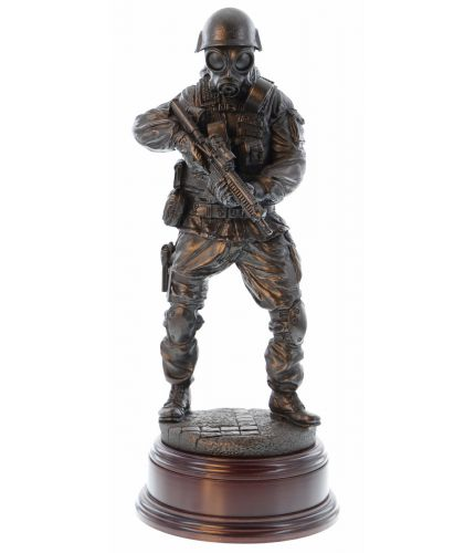 "Commemorative military sculpture of a Special Forces Trooper on Counter Terrorism Operations. 12"" scale and made in cold cast bronze resin. If required, we offer an engraved plated free of charge."
