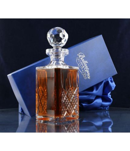 Square cut crystal brandy decanter, personalised hand engraving is included