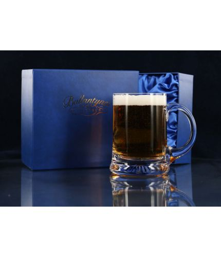Beer Tankard, Engraved, Straight Sided with Presentation Box