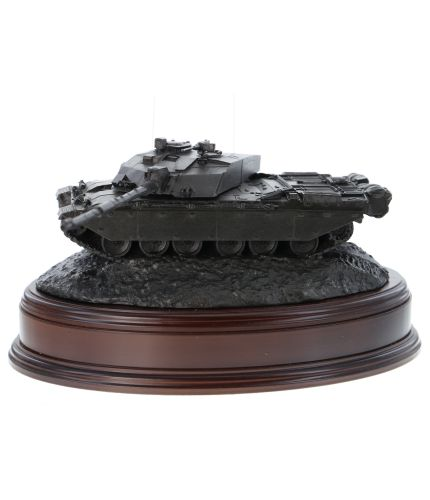 This is a Cold Cast Bronze model of a Challenger 2 Main Battle Tank set up for the Sultan of Oman's Army. The sculpture is mounted on a wooden base and we can add an engraved plate.