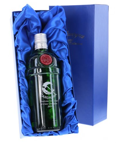 We offer this 70cl bottle Tanqueray Export Strength Gin engraved with a personal design of your choice. We include a blue satin box with all online orders